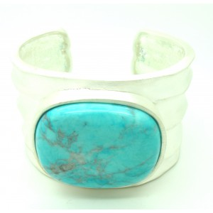 Bracelet manchette argenté avec pierre turquoise